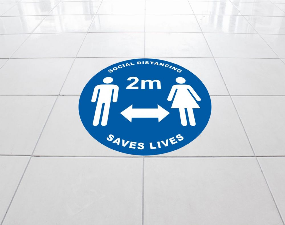 Social distancing Floor sticker Template 1